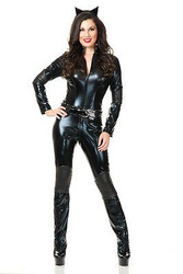 CAT WOMAN super hero black catsuit panther sexy womens halloween costume LARGE