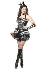 COURT JESTER jesteress harlequinn clown womens sexy halloween costume LARGE