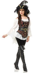 PIRATE LADY blouse vest sea captain renaissance womens halloween costume XS