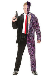 SPLIT PERSONALITY dark knight batman joker mens villain halloween costume MEDIUM