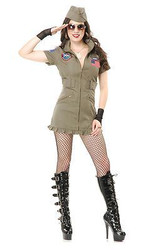 TOP GUN SEAL TEAM dress uniform sexy military army womens halloween costume XL