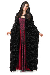 Adult hooded RED velvet CLOAK Charades One Size