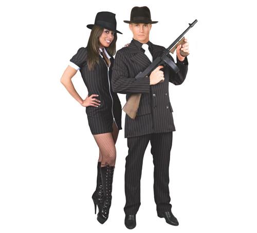 GANGSTER SUIT formal mob boss black 20s 30s adult mens halloween costume plus 3X  sc 1 st  CostumeVille & GANGSTER SUIT formal mob boss black 20s 30s adult mens halloween ...