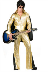 ELVIS gold jumpsuit rock star pop adult the king mens costume XL