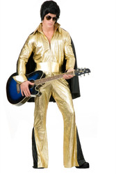 ELVIS gold jumpsuit rock star pop adult the king mens costume L