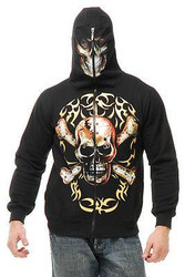black SKULL & CROSS BONES HOODIE adult mens halloween costume SMALL