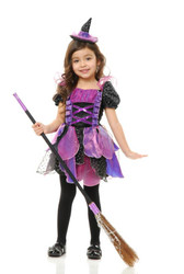 purple GLITTER WITCH kids girls toddler halloween costume 2T-4T