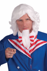 Adult Uncle Sam Wig & Beard Set Costume