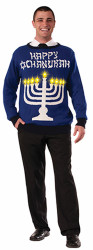 Happy Chanukah Light Up Menorah Sweater