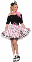 50s Mid-Length Pink Poodle Skirt Sock Hop Adult Costume