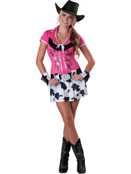 Pink Cowgirl Bling Costume Teen Large