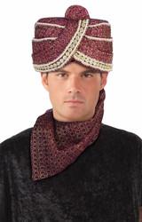 maroon Maharaja Turban Maharaji indian Hat adult mens halloween costume accessory
