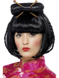 Oriental Lady Wig with Chopsticks