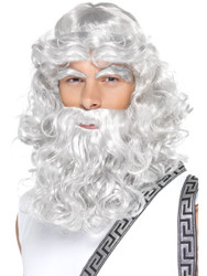 Zeus Wig Grey Beard and Eyebrows by Smiffy's