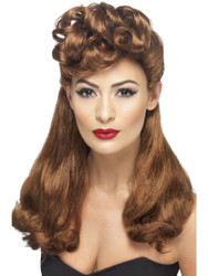 40's Vintage Wig Auburn Long with Top Curls bu Smiffy's