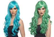 Desire Wig Long Curly with Fringe Mermaid Smurf Color Wig by Smiffy's