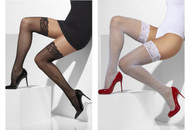 Womens Fishnet Hold-Up Pantyhose Lace Tops with Silicone