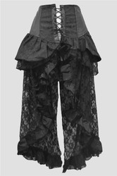 Evangeline Skirt in Black Scroll Brocade