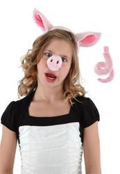 PIG SET NOSE EARS TAIL piggy farm barnyard adult kids halloween costume