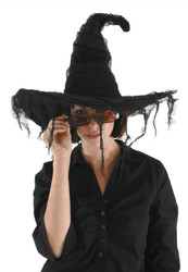 BLACK WITCH HAT classic goth pointed adult womens halloween costume accessory