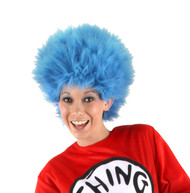 BLUE WIG Thing 1 Thing 2 Dr. Seuss kids cat hat read america adult hair costume