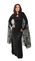 BLACK SPIDER WEB CAPE sheer witch vampire sexy womens halloween costume