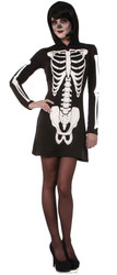 Skeleton Hooded Mini Dress Womens Costume