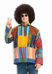 HIPPIE PATCHWORK SHIRT 60s 70s woodstock top vintage adult halloween costume
