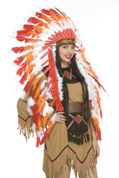 Non-Native Feather Headdress With Trailer Red White And Orange Costume Accessory