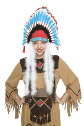Non-Native Feather Headdress Red Black And Blue Costume Accessory