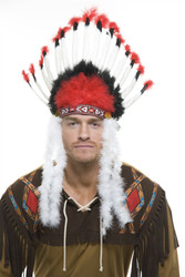 Non-Native  Feather Headdres Red Black And White Costume Accessory