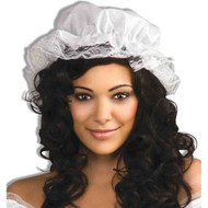 WHITE MOB CAP mop colonial country pilgrim lace bonnet womens halloween costume