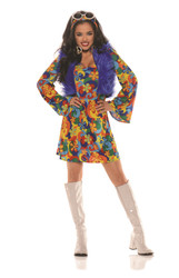 Groovy Blu Retro Hippie Adult Costume