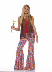 Bell Bottom Swirl Pants Hippie Disco 60s 70s Womens Woodstock Costume - Std