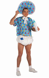 ADULT BABY BOY blue boomer big diaper funny mens adult halloween costume