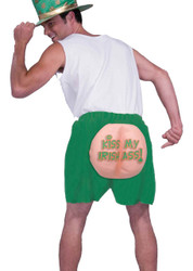 KISS MY IRISH ASS boxer shorts green funny mens st. patrick day costume