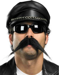 BIKER MUSTACHE black movember pointy facial stache mens adult costume accessory