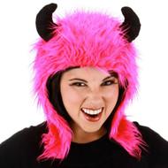 MAGENTA MINOTAUR HOODIE HAT viking horns kids girls halloween costume accessory