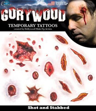 SHOT & STAB WOUNDS TATTOO temporary stabbed teen adults halloween FX makeup
