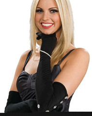 BLACK RHINESTONE GLOVES satin dress womens adult costume accessory diva jazz