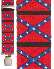 CONFEDERATE FLAG SUSPENDERS adult mens dixie south army costume accessory 42""