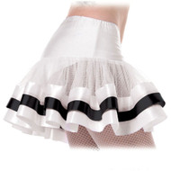 White black ribbon PETTICOAT sexy adult womens halloween costume STD