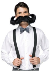 "20"" SUPER STACHE mustache movember facial hair mens funny costume accessory"