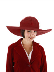 RED HAT Theodora Oz velvet womens halloween costume 1920s kentucky derby