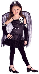 SKULL FAIRY black witch kids girls halloween costume S