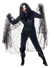 Black Vampire Spiderweb Cape Womens One Size