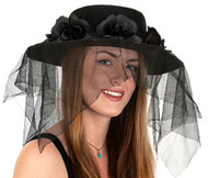 Spanish Ladies Black Hat With Black Flower Band And Veil