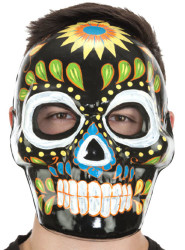 Full Face Black Day Of Dead Mask