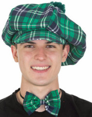 Green Plaid Scottish Cap & Bowtie