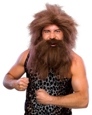 CAVEMAN WIG & BEARD SET hobo homeless prehistoric mens adult costume accessory